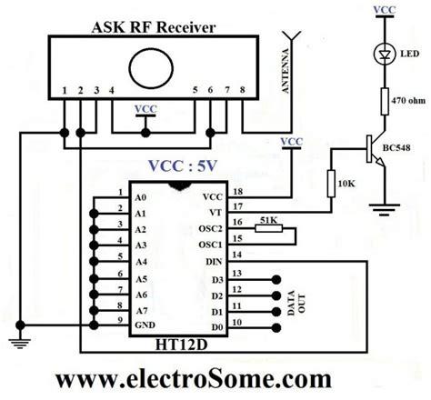 encoder vt pin flashing led  wtd rf receiver module