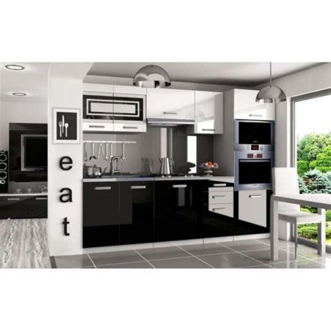 pro cuisine justhome paula pro cuisine équipée complète 240 cm couleur noir laqué haute brillance achat