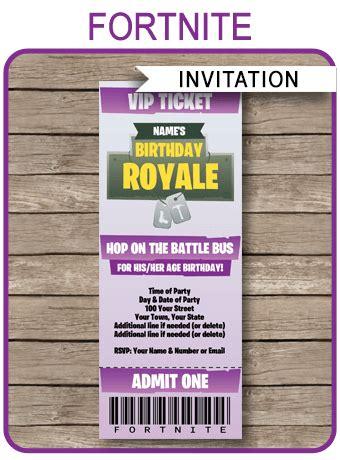 purple fortnite party invitation template fortnite