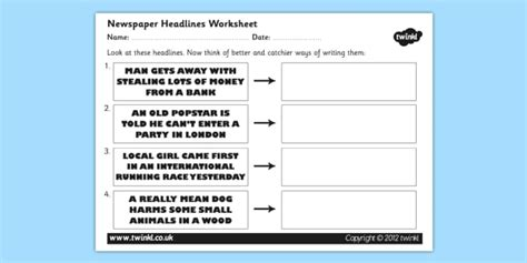 newspaper headline writing worksheet newspaper headlines