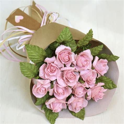st wedding anniversary gift pink paper rose bouquet