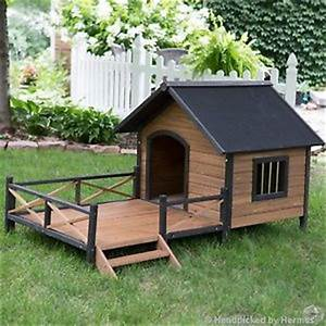 Dog house porch ebay for Large dog house with porch