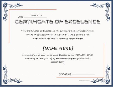 certificates  excellence  ms word professional