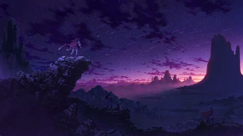 Purple Sky Landscape 1920 X 1080 In 2020 Anime Scenery
