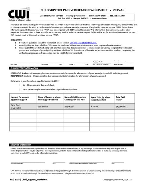 Child Support Paid Verification Worksheet  Idaho Free Download