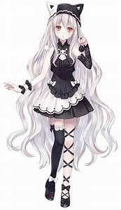 Manga fille - cheveux blancs - gothique - chapeau neko ...