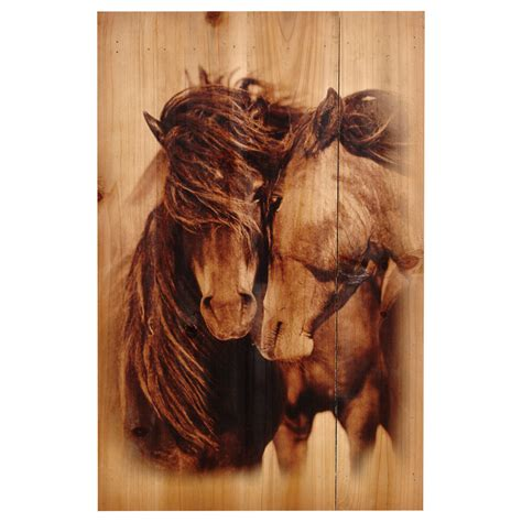 horses wood panel