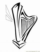 Harp Coloring Printable Pages Cliparts Coloringpages101 Entertainment Favorites sketch template