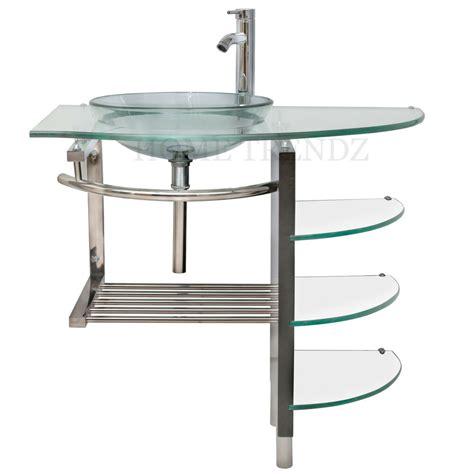 Bathroom Bowl Vanities by 32 Inch Modern Bathroom Glass Bowl Vessel Sink Wood