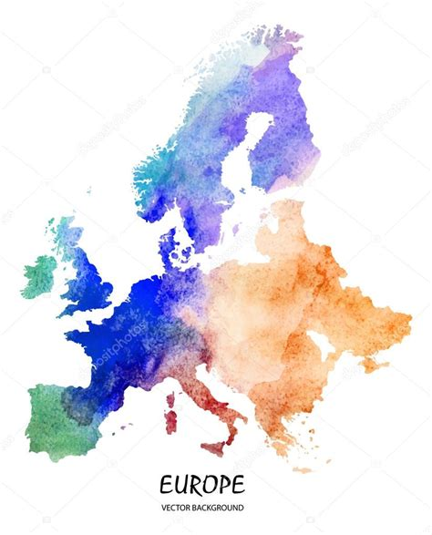 watercolor map  europe stock vector  superson