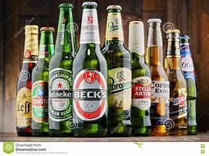 Bottles Of Assorted Global Beer Brands Editorial ...