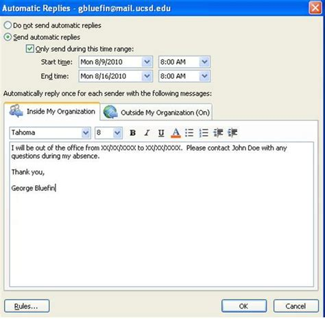 message absence bureau outlook setting up out of office messages in outlook 2010