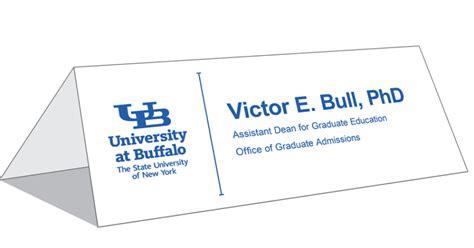 table tent cards identity  brand university  buffalo