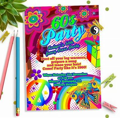 60s Party Theme Birthday Invitation Invitations Invites