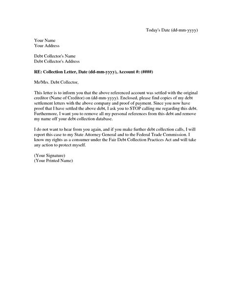 collection settlement letter  debt settlement agreement