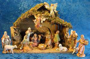 fontanini 5 quot scale nativity scene 16pc figure set w italian wooden stable 54492