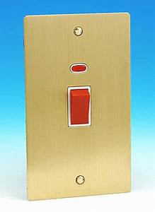 45 Amp DP Switch Oblong with Neon Brushed Brass