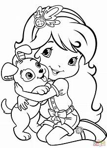 Strawberry Shortcake With Pupcake Coloring Page Free