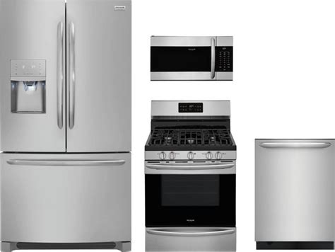 frigidaire gallery  piece kitchen package stainless steel frgakitfgmvwnvf spencers tv