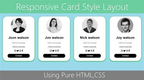 create responsive card layout htmlcss