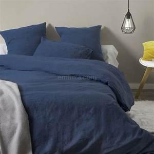 Housse De Couette Lin Lavé Bensimon : housse de couette 240 cm lin lav sonate bleu indigo linge de lit eminza ~ Farleysfitness.com Idées de Décoration
