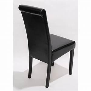 Lot de 2 chaises de sejour novara ii cuir noir pieds for Meuble salle À manger avec chaise cuir couleur