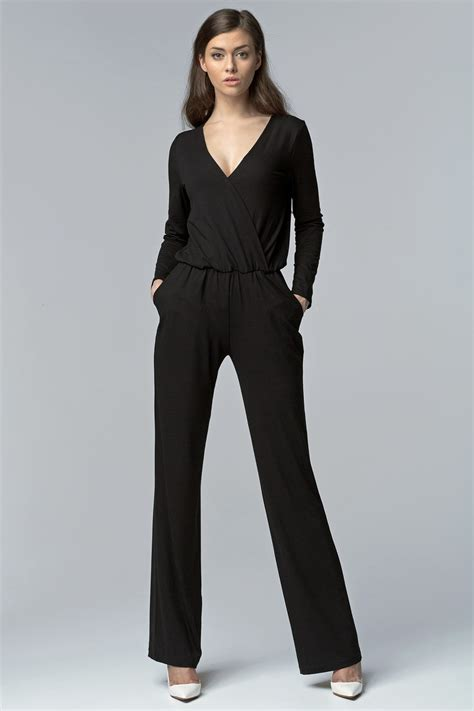 black jumpsuit with sleeves black cross bodice jumpsuit with sleeves