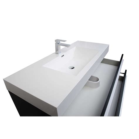 47 quot wall mount contemporary bathroom vanity matt black tn