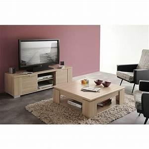 chivas salon complet decor bois naturel laque 2 pieces 1 With table basse et meuble tv assortis