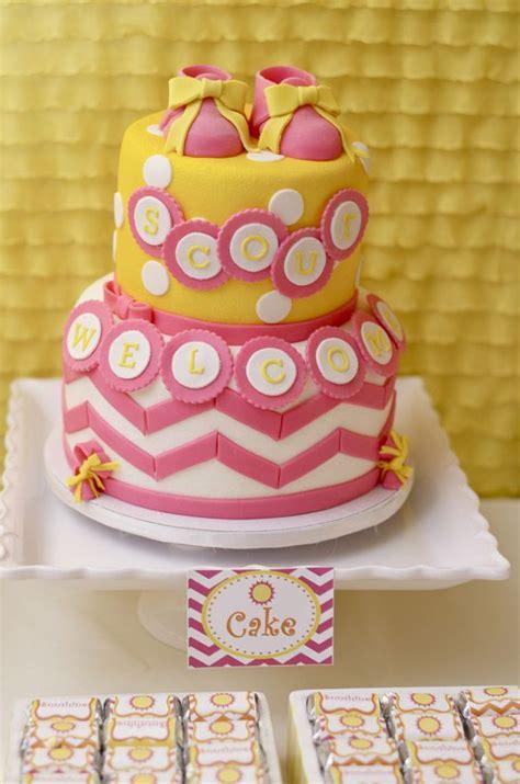 Pink Green Yellow Baby Shower by Baby Shower Cake Orange Pink Yellow Josselyn Wilson