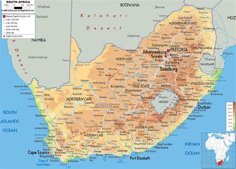 physical map  south africa ezilon maps