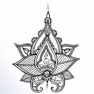 Lotus Mandala tatouage temporaire au henné Style Hand ...