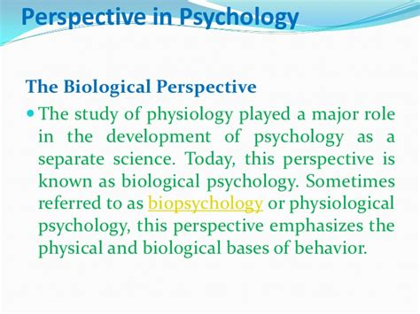 Perspective Biological Psychology Examples