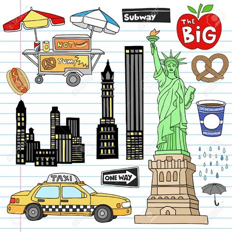 New York City Clip City Clipart Manhattan Pencil And In Color City Clipart
