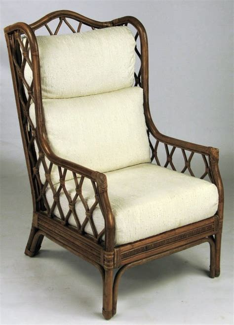 rattan and wing chair with matching ottoman at 1stdibs