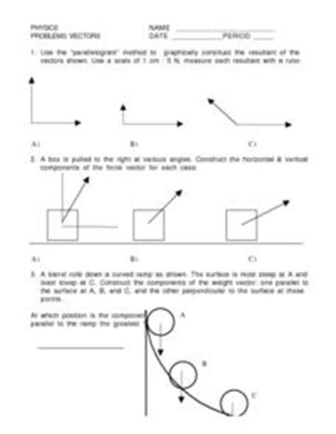Physics Vectors 10th  Higher Ed Worksheet  Lesson Planet