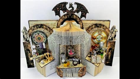 alchemists workshop altered book  egg shell texture
