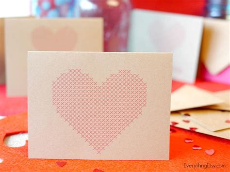 heart cross stitch cards  printables