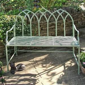 Banc En Fer : banc de jardin arche gothique en fer couleur vert ~ Preciouscoupons.com Idées de Décoration