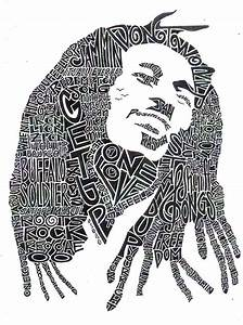 Bob Marley Black and White Word Portrait ... how cool ...