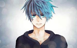 Anime Boy with Blue Hair and Blue Eyes