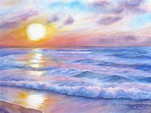 Sunset Beach Hawaii Seascape Painting by Janet Zeh