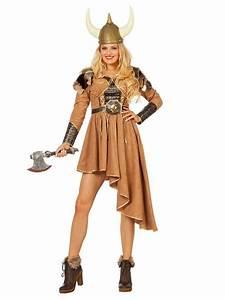 Déguisement viking marron et doré luxe femme : Deguise