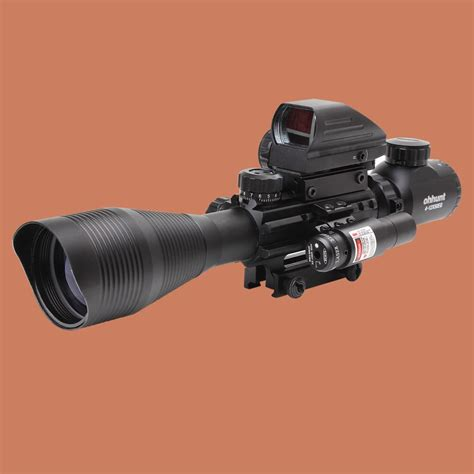 12x50 tactical rifle scope with holographic four reticle sight and laser allforshop
