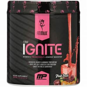 Fitmiss Ignite Women U0026 39 S Pre Workout   Energy Booster Powder  Fruit Punch  30 Servings