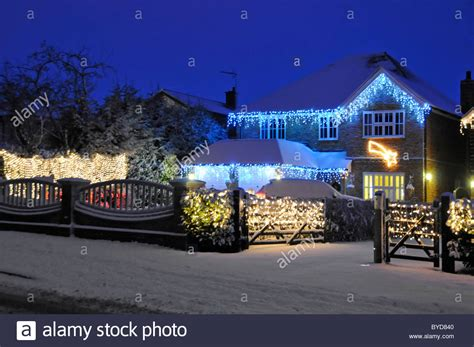 christmas houses in snow snow house with lights stock photo 34097840 alamy