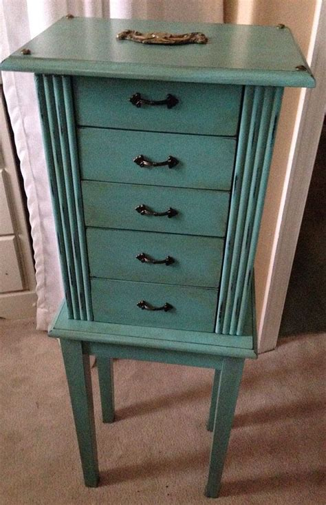 Painted Jewelry Armoire Painted Jewelry Armoire Turquoise By