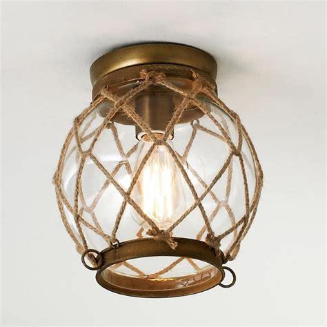 coastal ceiling lights jute rope lattice aged brass finish hardware clear glass
