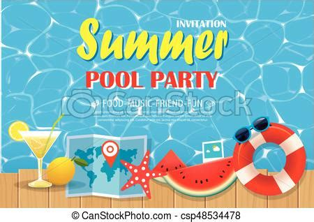 pool party invitation poster  blue water  wooden