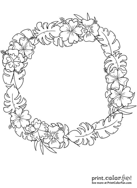 Free Printable Hawaiian Flowers Coloring Pages